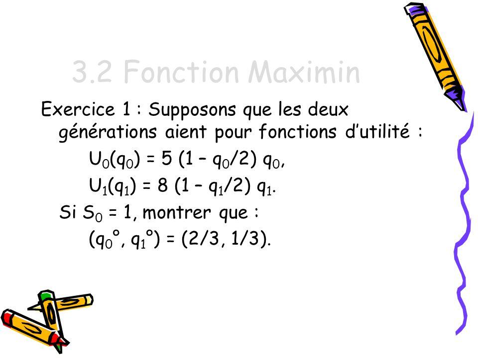 3.2 Fonction Maximin Exercice 1 : Supposons que les deux générations aient pour fonctions d'utilité :