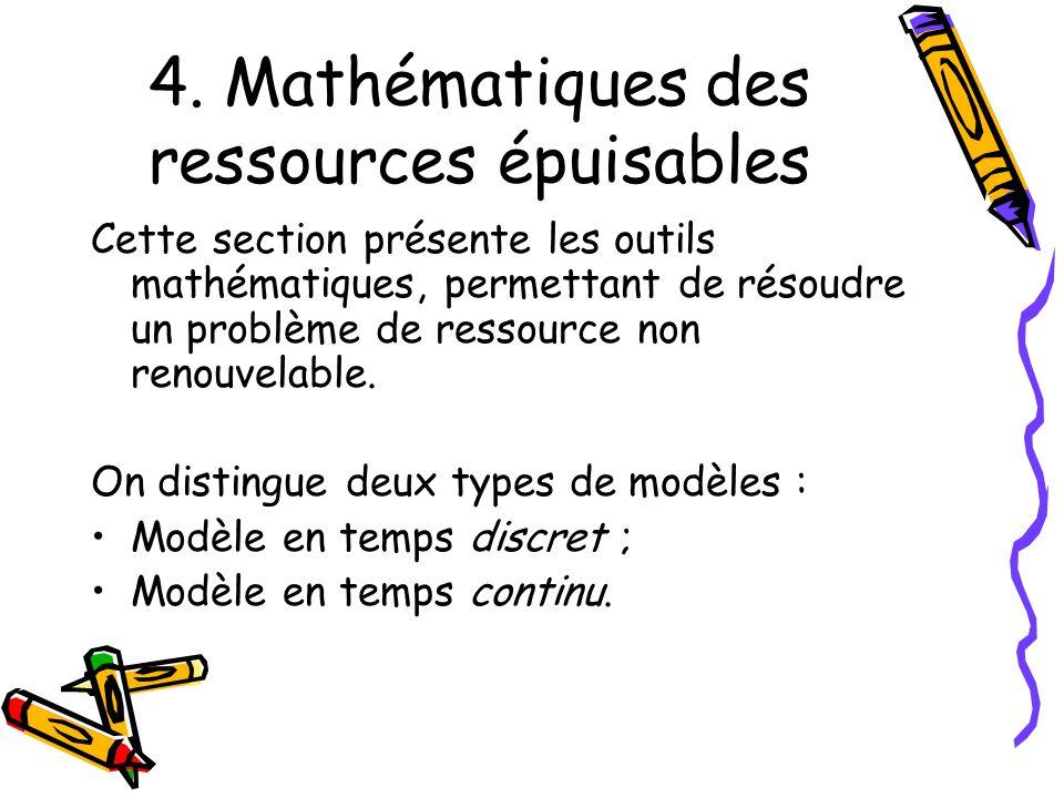 4. Mathématiques des ressources épuisables