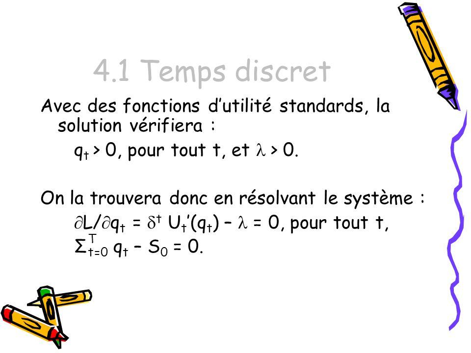 4.1 Temps discret Avec des fonctions d'utilité standards, la solution vérifiera : qt > 0, pour tout t, et l > 0.