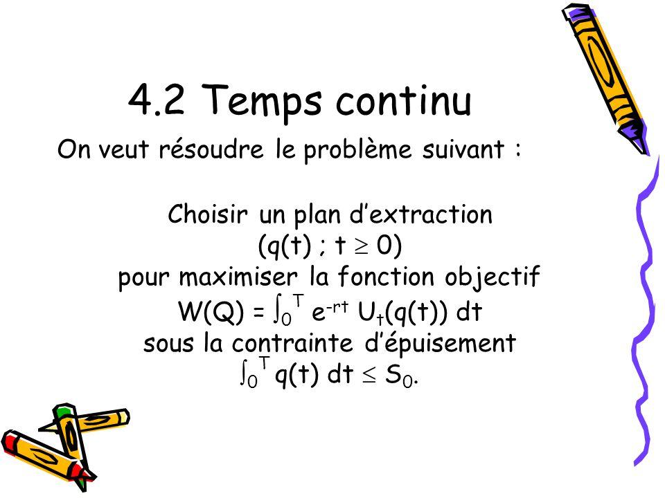4.2 Temps continu On veut résoudre le problème suivant :