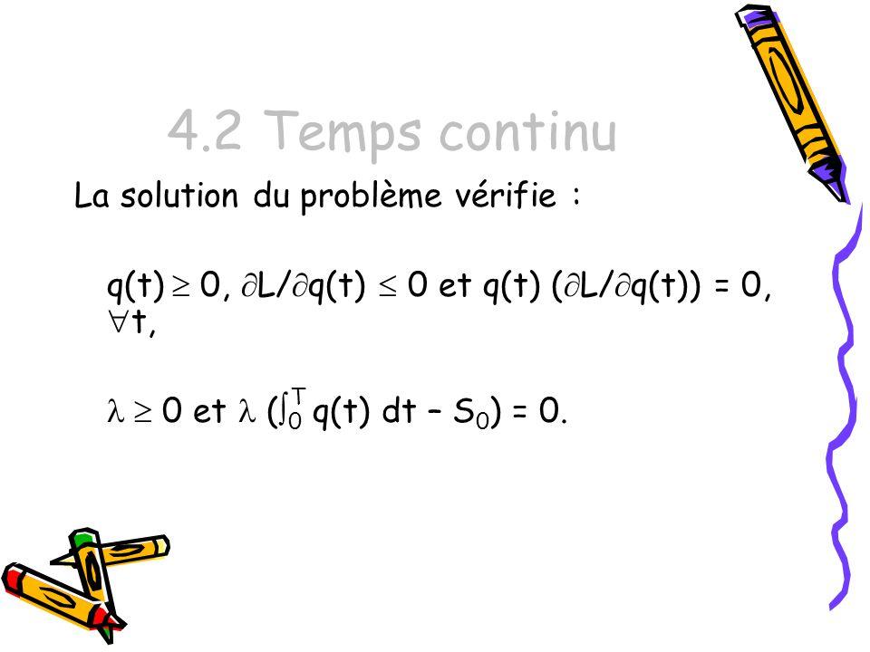 4.2 Temps continu La solution du problème vérifie :