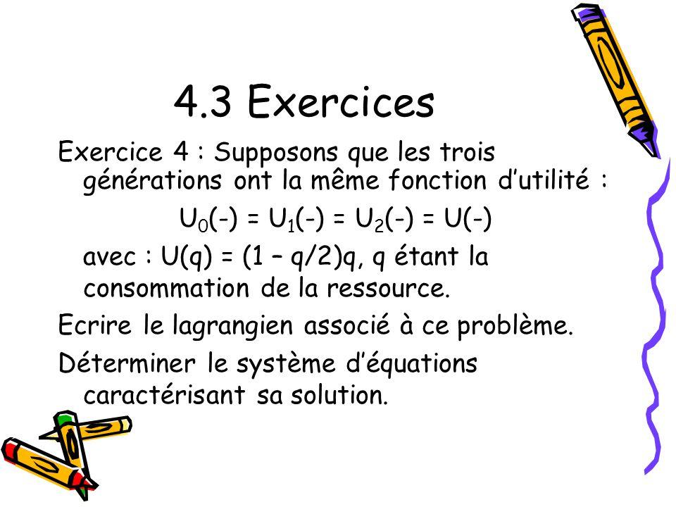 4.3 Exercices Exercice 4 : Supposons que les trois générations ont la même fonction d'utilité : U0(-) = U1(-) = U2(-) = U(-)