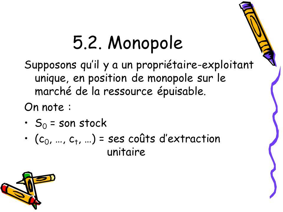 5.2. Monopole Supposons qu'il y a un propriétaire-exploitant unique, en position de monopole sur le marché de la ressource épuisable.