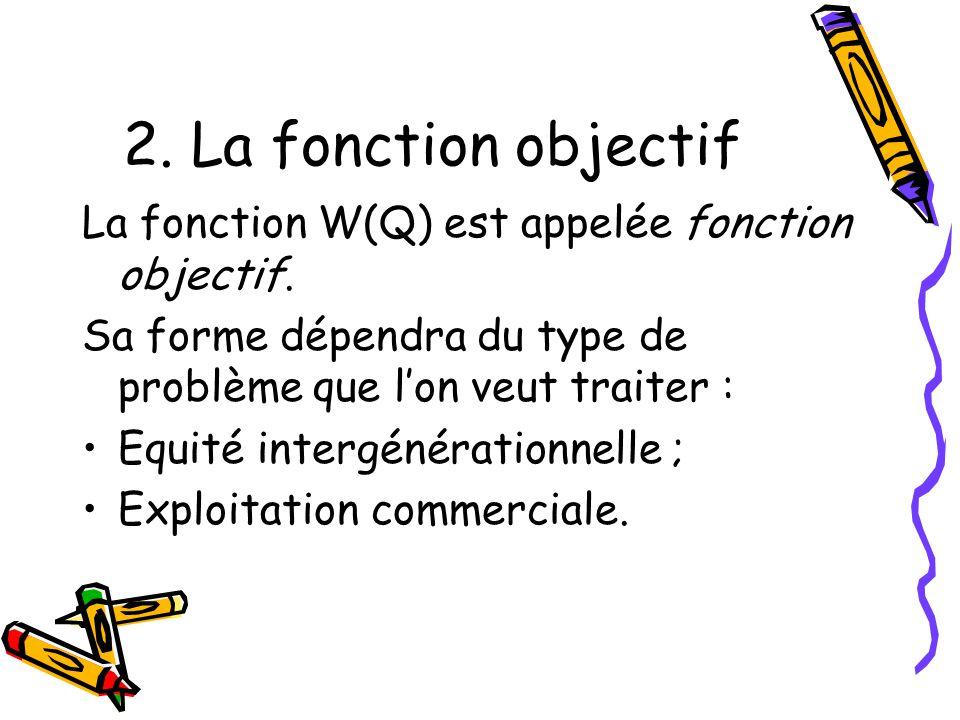 2. La fonction objectif La fonction W(Q) est appelée fonction objectif. Sa forme dépendra du type de problème que l'on veut traiter :