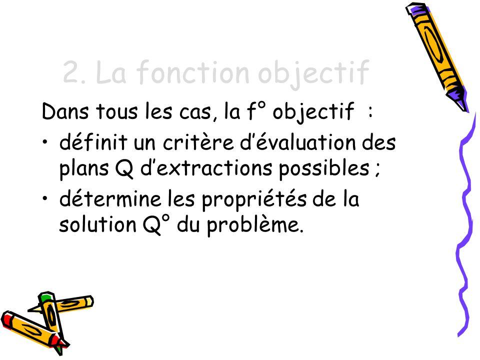 2. La fonction objectif Dans tous les cas, la f° objectif :