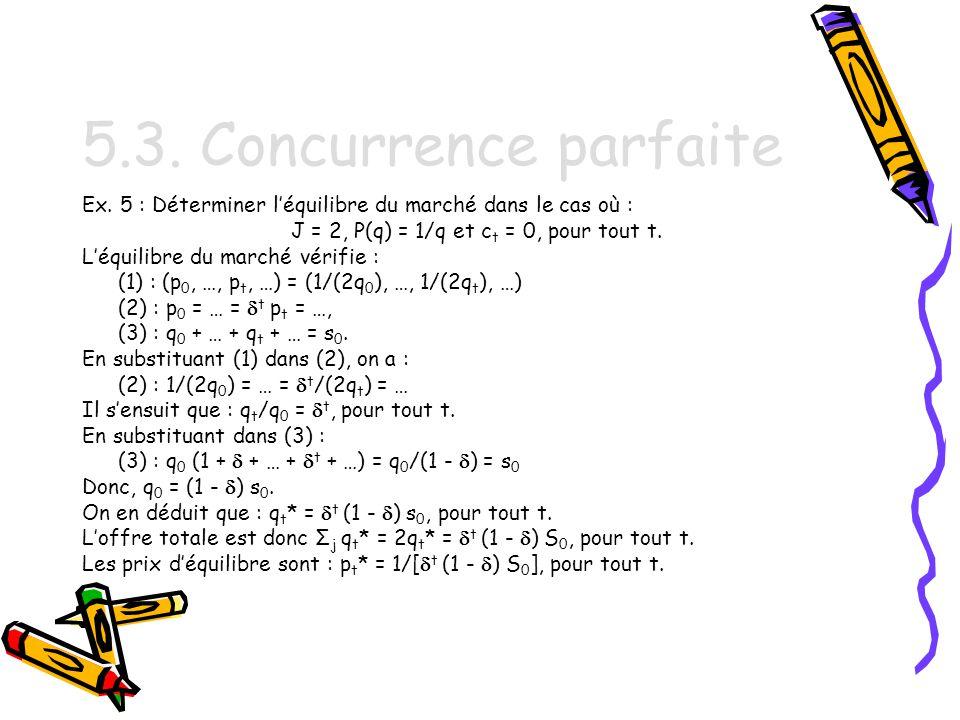 J = 2, P(q) = 1/q et ct = 0, pour tout t.