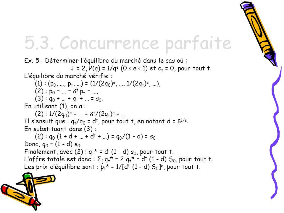 J = 2, P(q) = 1/qe (0 < e < 1) et ct = 0, pour tout t.