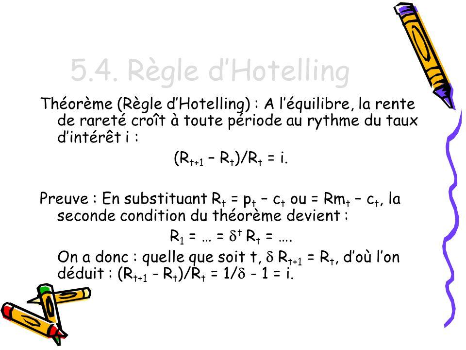 5.4. Règle d'Hotelling Théorème (Règle d'Hotelling) : A l'équilibre, la rente de rareté croît à toute période au rythme du taux d'intérêt i :