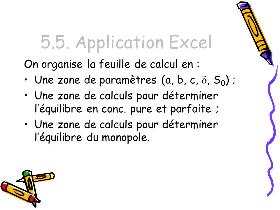 5.5. Application Excel On organise la feuille de calcul en :