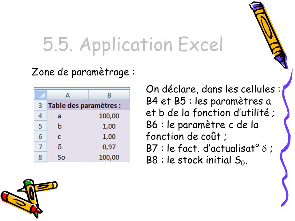 5.5. Application Excel Zone de paramètrage :