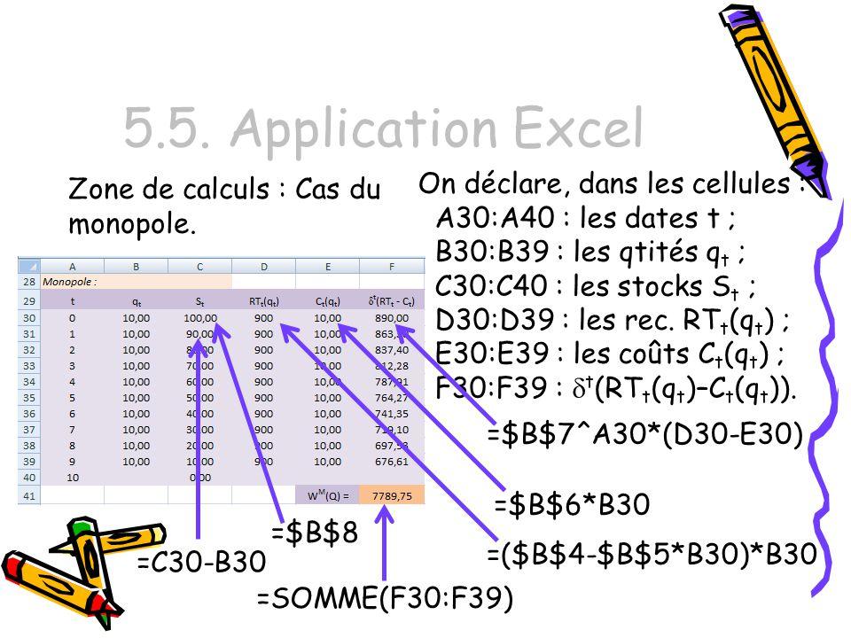 5.5. Application Excel On déclare, dans les cellules :