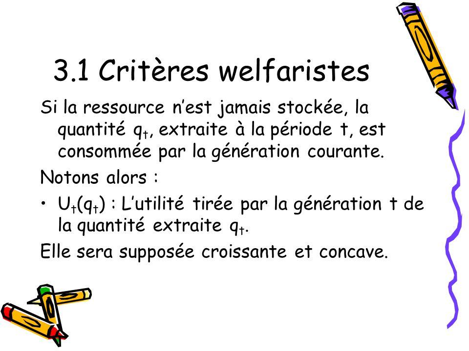 3.1 Critères welfaristes Si la ressource n'est jamais stockée, la quantité qt, extraite à la période t, est consommée par la génération courante.