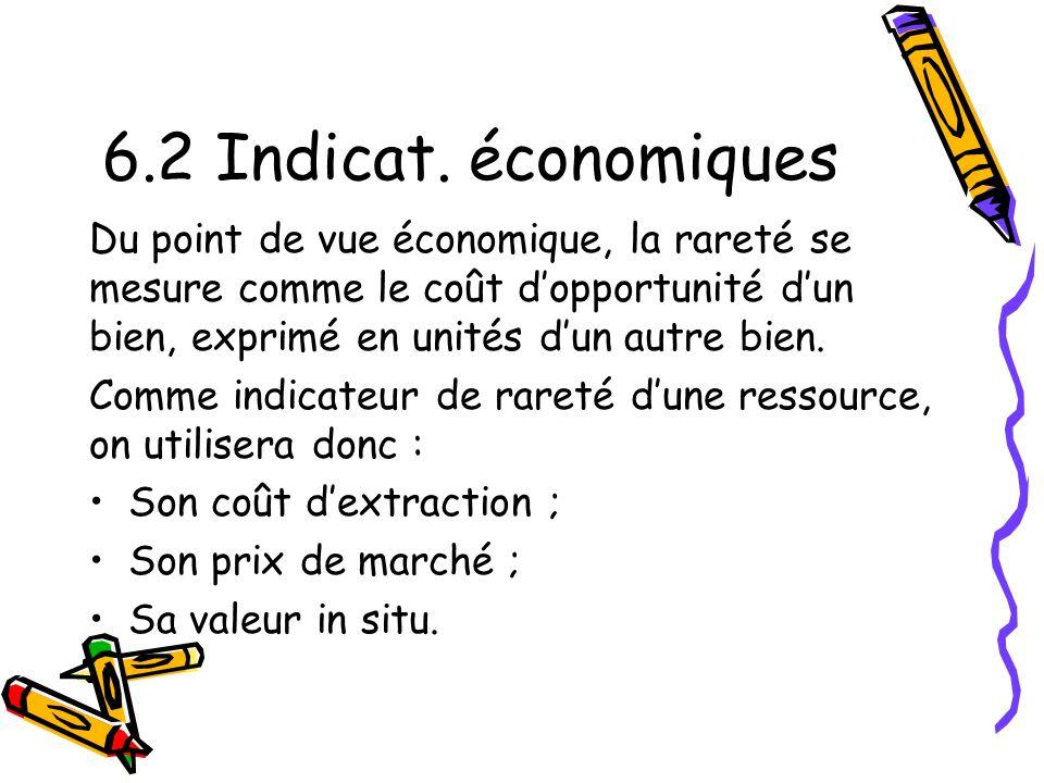 6.2 Indicat. économiques Du point de vue économique, la rareté se mesure comme le coût d'opportunité d'un bien, exprimé en unités d'un autre bien.
