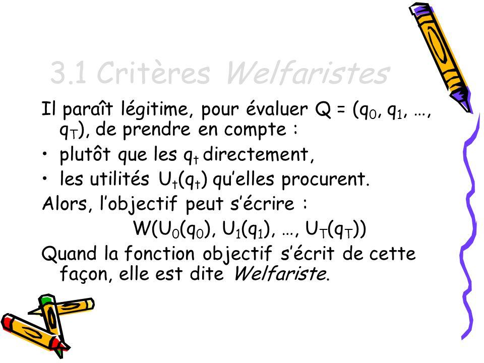 3.1 Critères Welfaristes Il paraît légitime, pour évaluer Q = (q0, q1, …, qT), de prendre en compte :