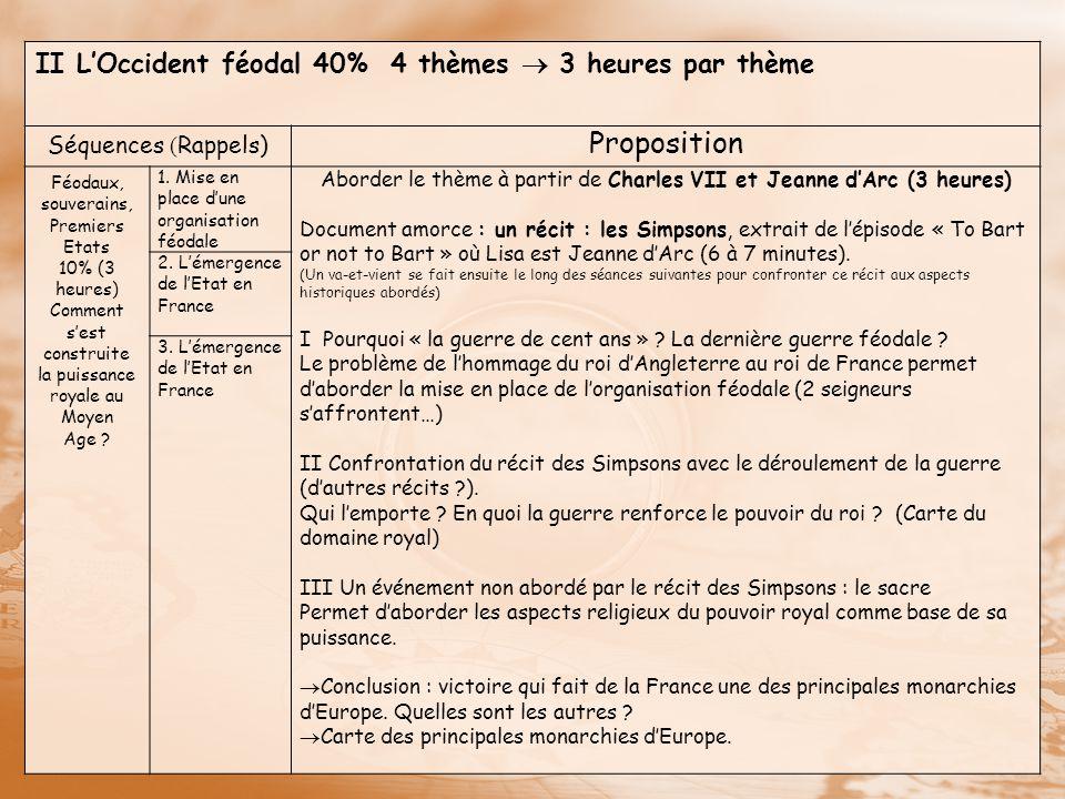 Proposition II L'Occident féodal 40% 4 thèmes  3 heures par thème