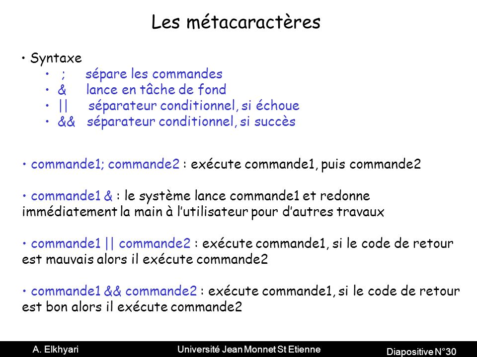 Les métacaractères Syntaxe ; sépare les commandes