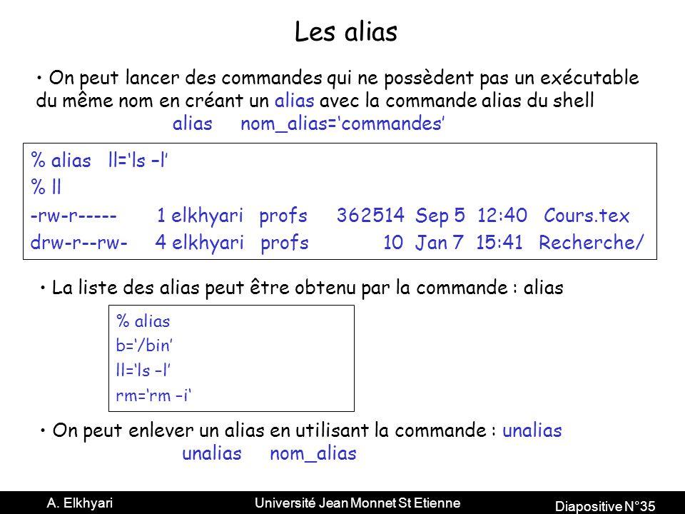 Les alias On peut lancer des commandes qui ne possèdent pas un exécutable. du même nom en créant un alias avec la commande alias du shell.