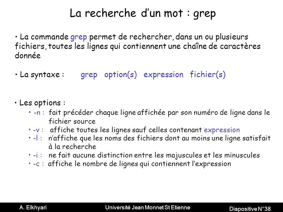 La recherche d'un mot : grep