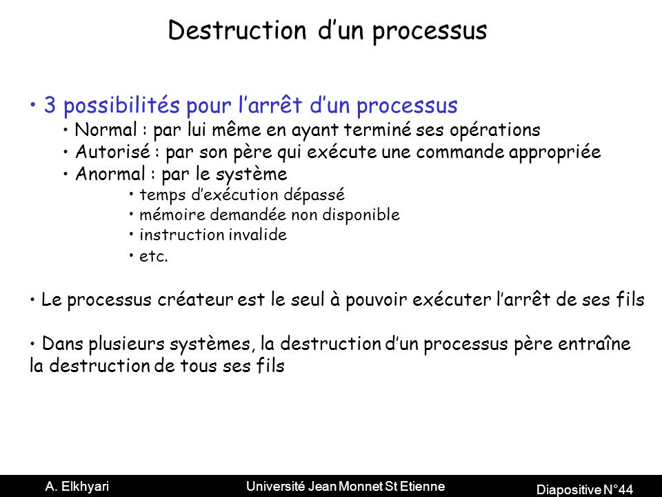 Destruction d'un processus