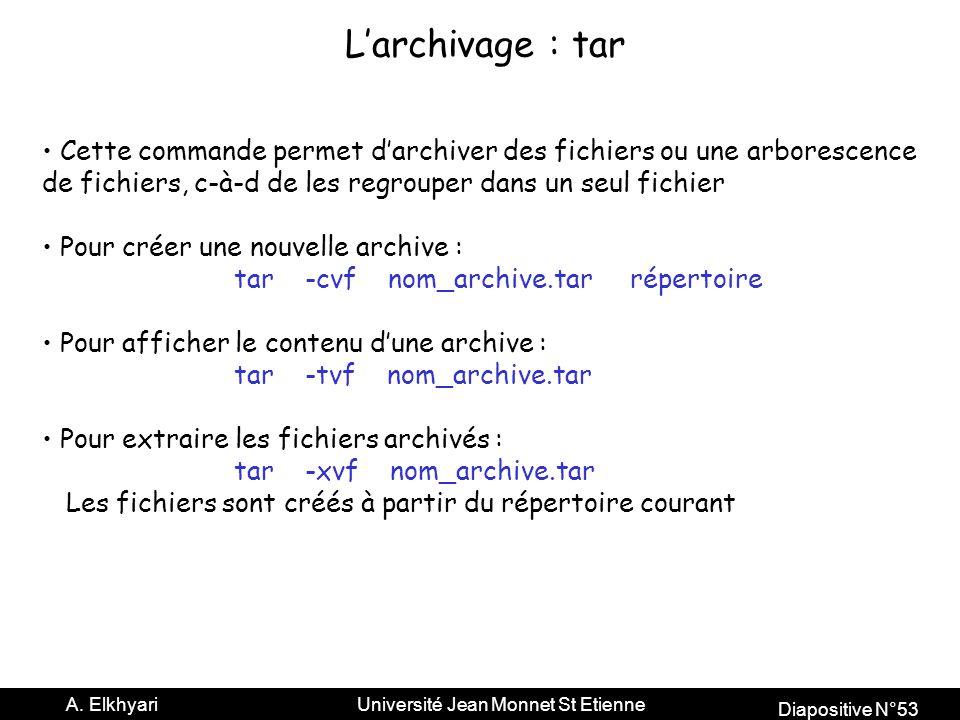 L'archivage : tar Cette commande permet d'archiver des fichiers ou une arborescence. de fichiers, c-à-d de les regrouper dans un seul fichier.