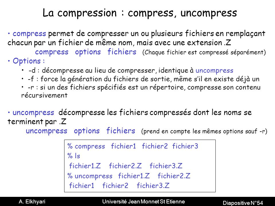 La compression : compress, uncompress