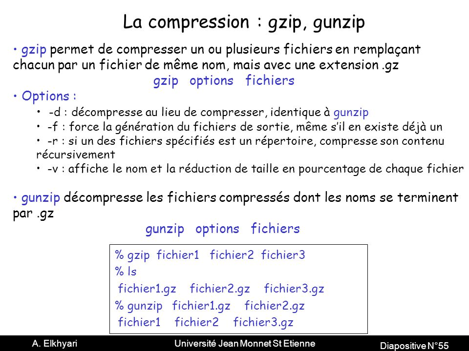La compression : gzip, gunzip