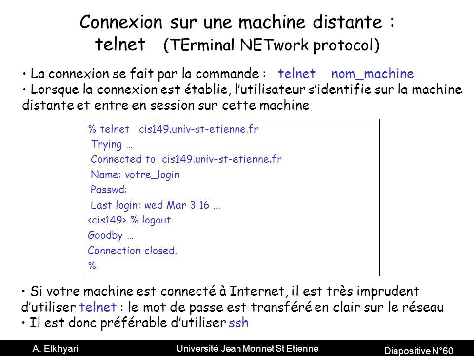 Connexion sur une machine distante :