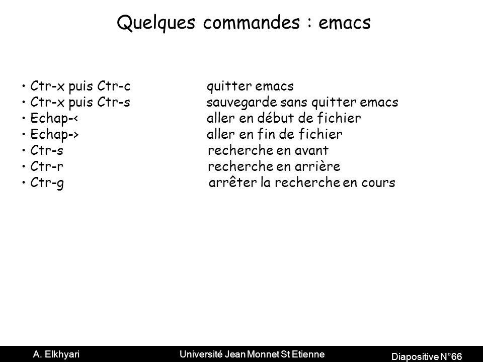Quelques commandes : emacs