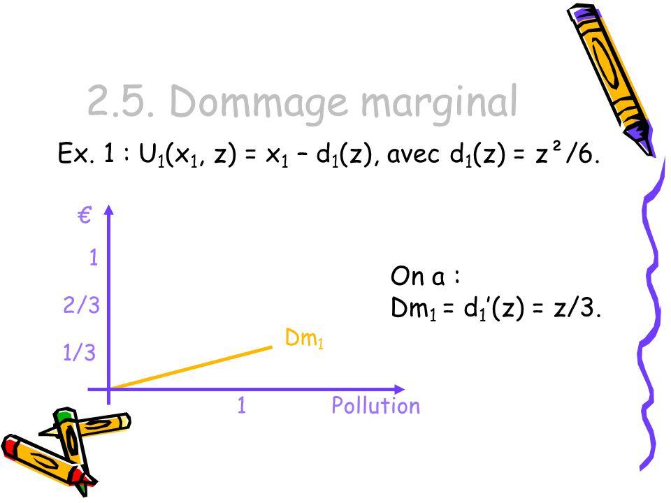 2.5. Dommage marginal Ex. 1 : U1(x1, z) = x1 – d1(z), avec d1(z) = z²/6. € 1. On a : Dm1 = d1'(z) = z/3.