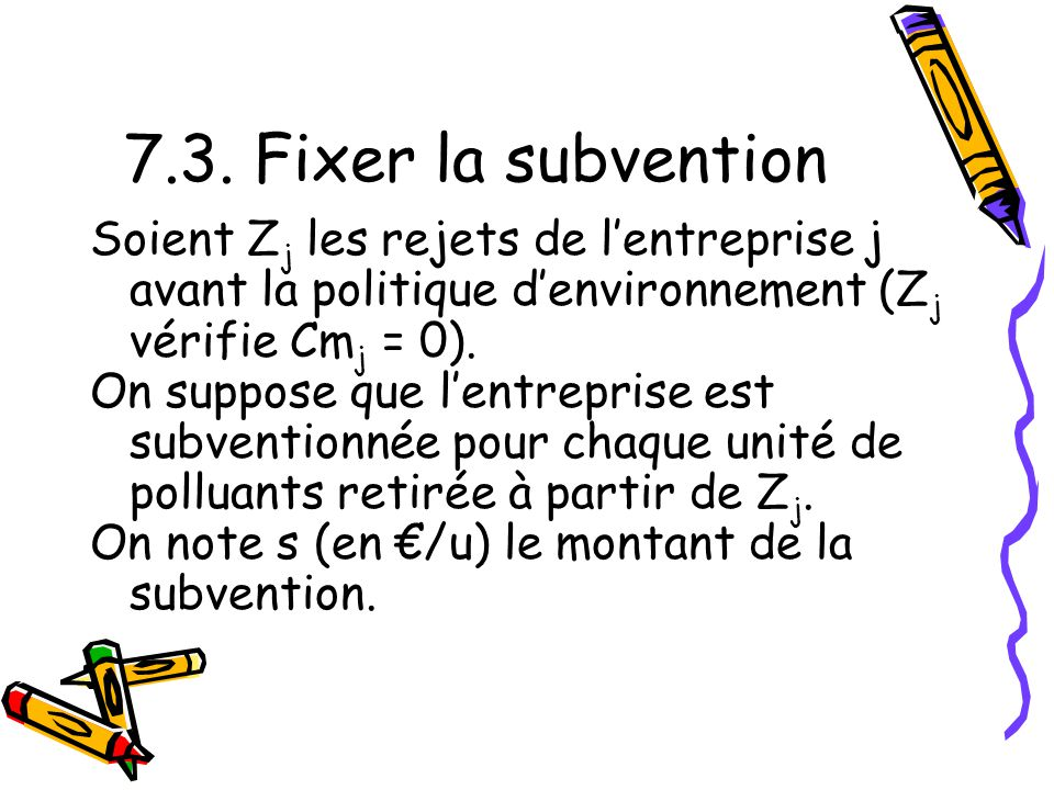 7.3. Fixer la subvention Soient Zj les rejets de l'entreprise j avant la politique d'environnement (Zj vérifie Cmj = 0).