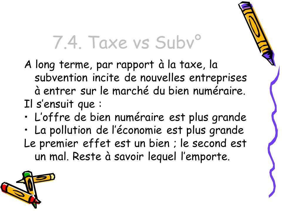 7.4. Taxe vs Subv° A long terme, par rapport à la taxe, la subvention incite de nouvelles entreprises à entrer sur le marché du bien numéraire.