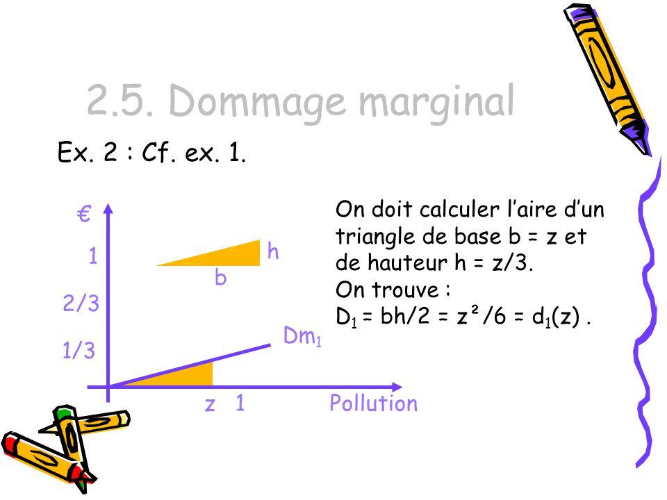 2.5. Dommage marginal Ex. 2 : Cf. ex. 1.