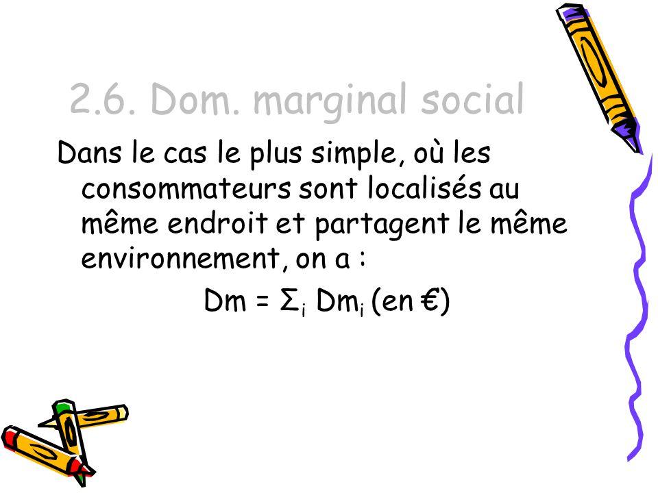 2.6. Dom. marginal social Dans le cas le plus simple, où les consommateurs sont localisés au même endroit et partagent le même environnement, on a :