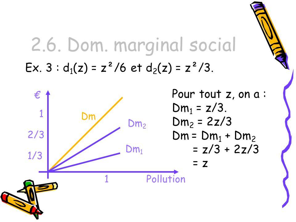 2.6. Dom. marginal social Ex. 3 : d1(z) = z²/6 et d2(z) = z²/3.