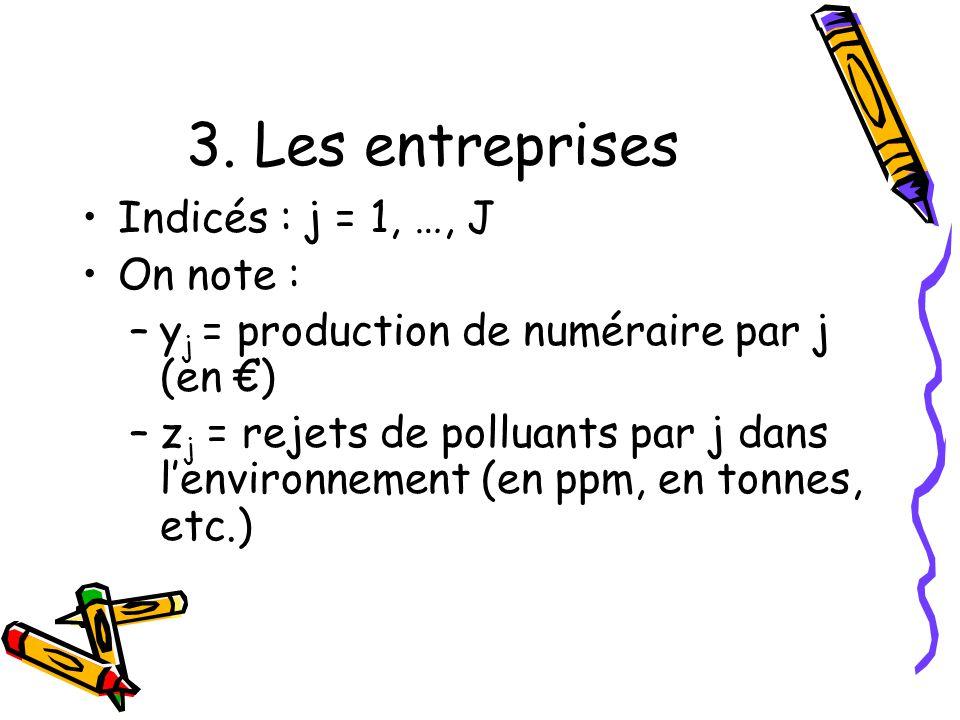 3. Les entreprises Indicés : j = 1, …, J On note :
