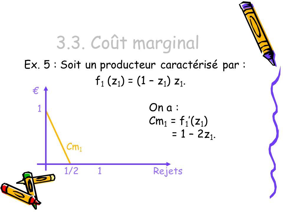 3.3. Coût marginal Ex. 5 : Soit un producteur caractérisé par :