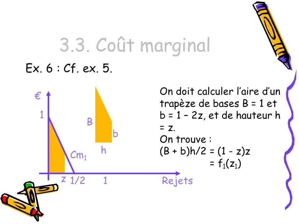 3.3. Coût marginal Ex. 6 : Cf. ex. 5. On doit calculer l'aire d'un trapèze de bases B = 1 et b = 1 – 2z, et de hauteur h = z.
