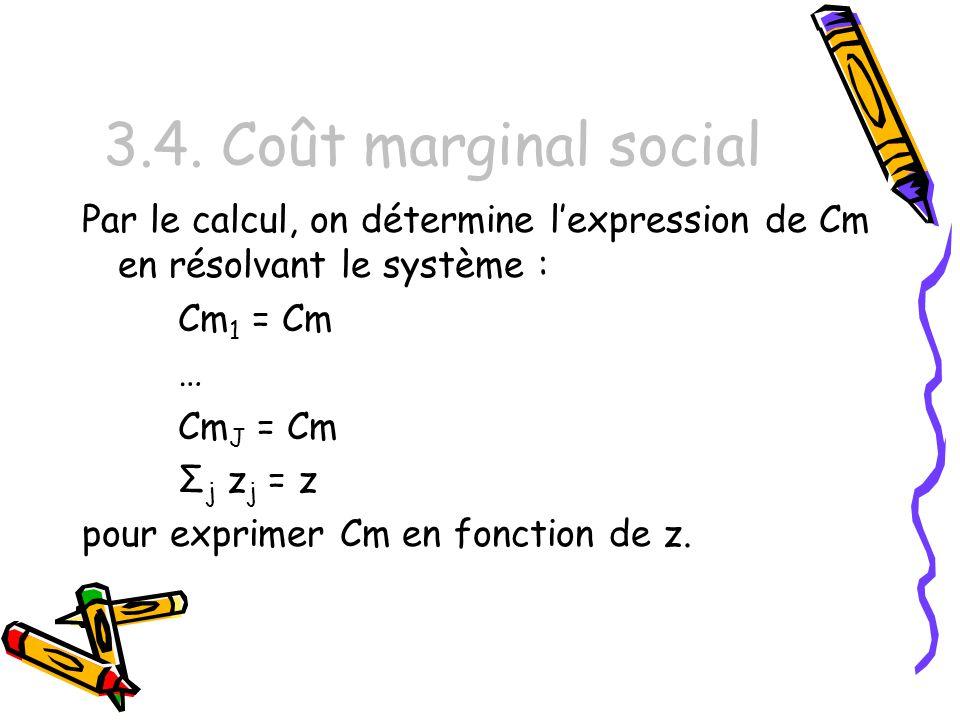 3.4. Coût marginal social Par le calcul, on détermine l'expression de Cm en résolvant le système : Cm1 = Cm.