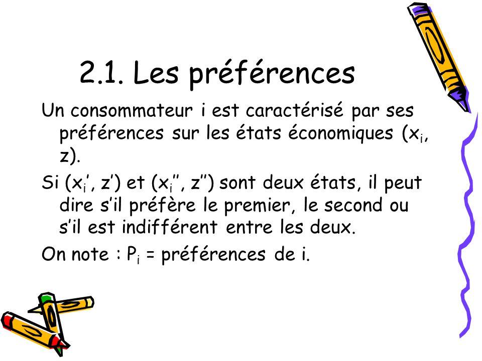 2.1. Les préférences Un consommateur i est caractérisé par ses préférences sur les états économiques (xi, z).