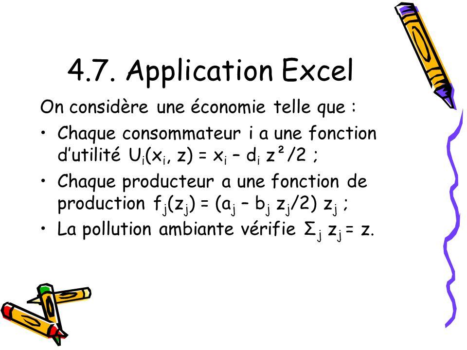 4.7. Application Excel On considère une économie telle que :