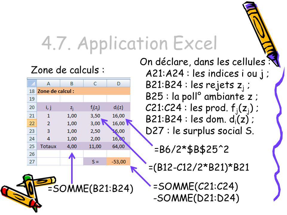 4.7. Application Excel On déclare, dans les cellules :