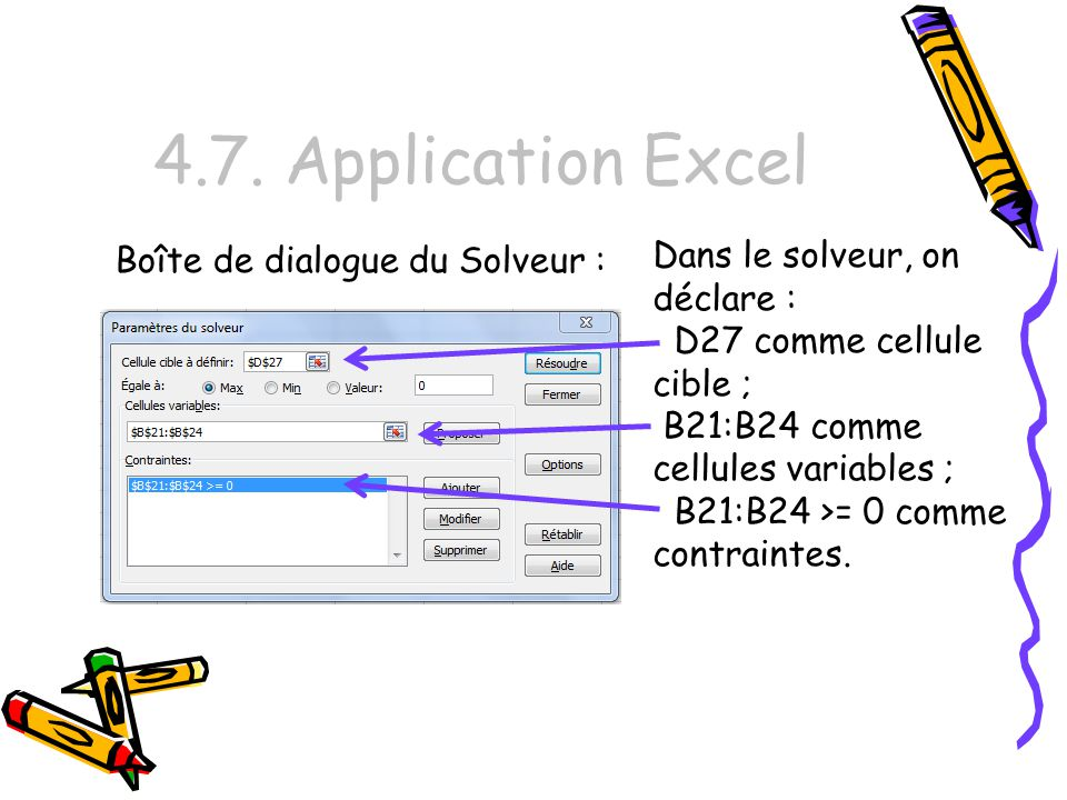 4.7. Application Excel Dans le solveur, on déclare :