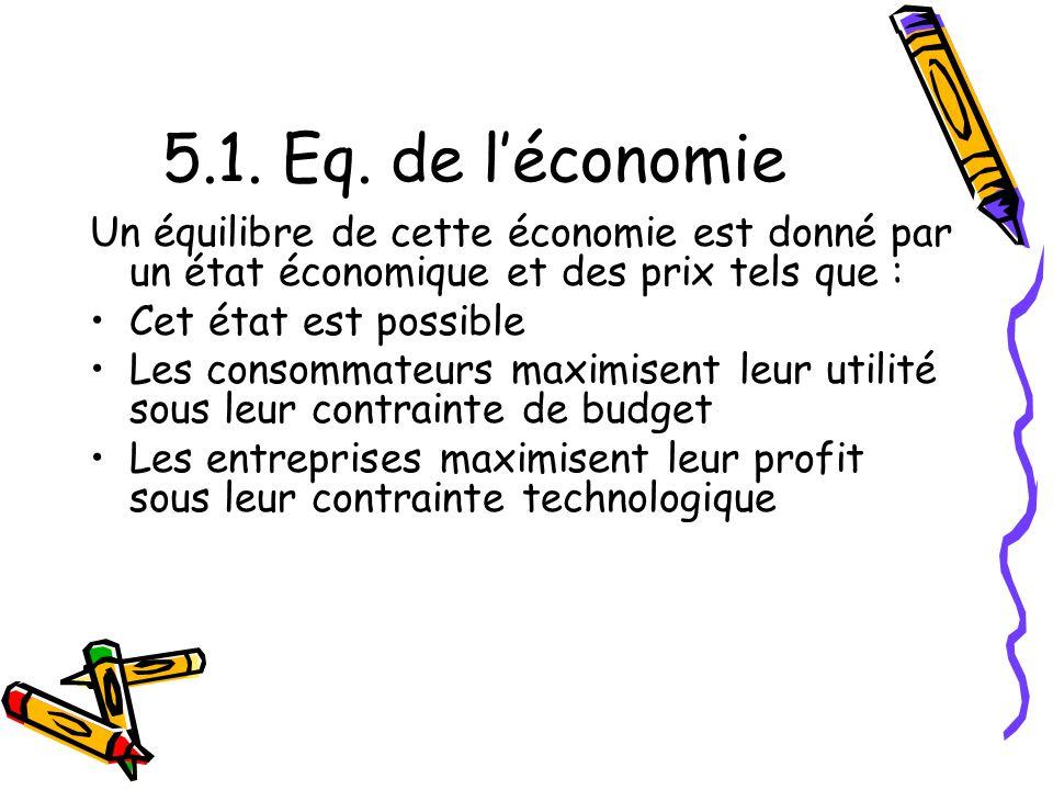 5.1. Eq. de l'économie Un équilibre de cette économie est donné par un état économique et des prix tels que :