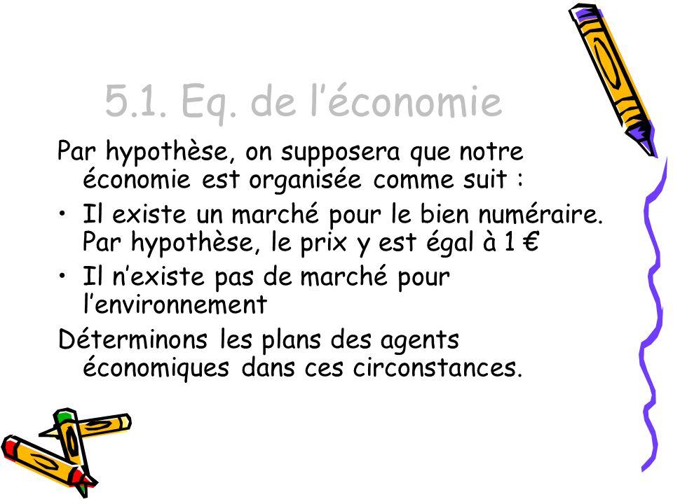 5.1. Eq. de l'économie Par hypothèse, on supposera que notre économie est organisée comme suit :
