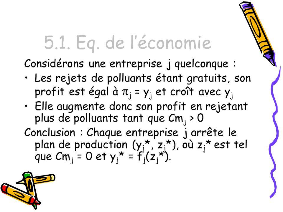 5.1. Eq. de l'économie Considérons une entreprise j quelconque :