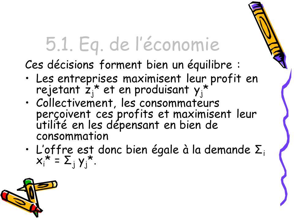 5.1. Eq. de l'économie Ces décisions forment bien un équilibre :
