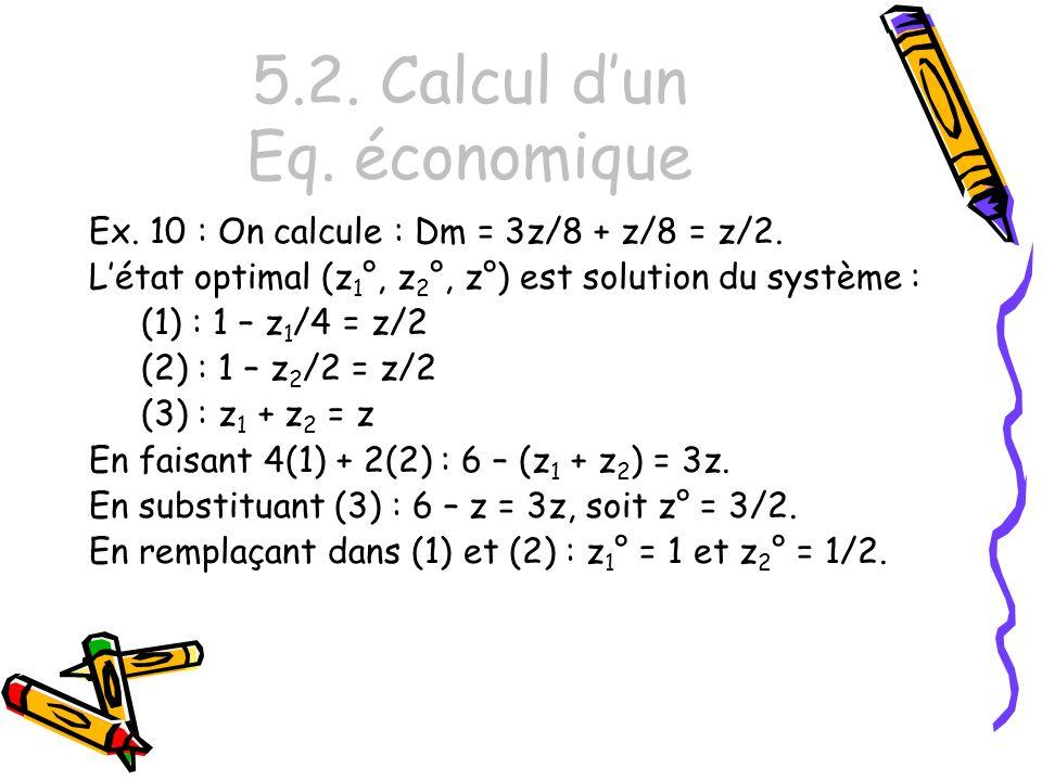 5.2. Calcul d'un Eq. économique