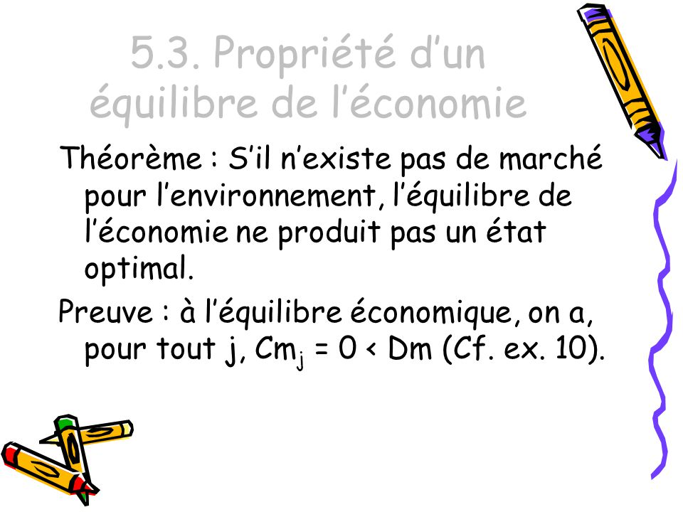 5.3. Propriété d'un équilibre de l'économie