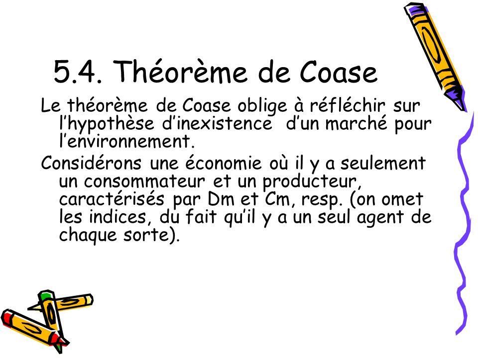 5.4. Théorème de Coase Le théorème de Coase oblige à réfléchir sur l'hypothèse d'inexistence d'un marché pour l'environnement.