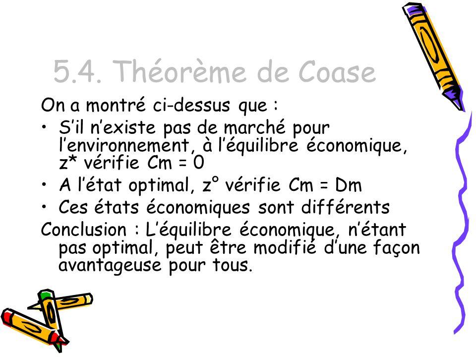 5.4. Théorème de Coase On a montré ci-dessus que :